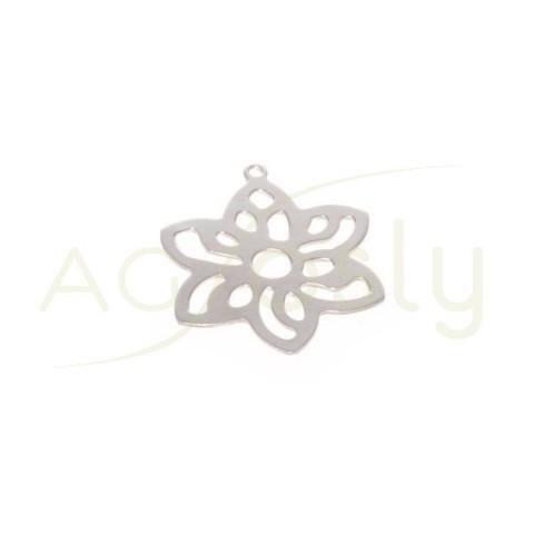Pieza de montaje en plata rodiada, modelo flor calada.25mm
