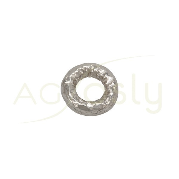 Pieza de montaje en plata rodiada, modelo donut con textura.15,40mm