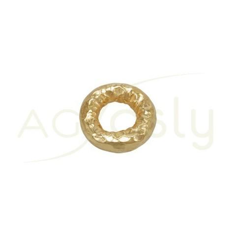 Pieza de montaje en plata chapada, modelo donut con textura.15,40mm