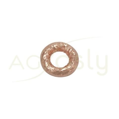 Pieza de montaje en plata chapada en rosa, modelo donut con textura.15,40mm