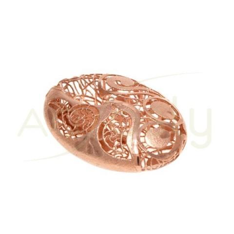 Pieza de montaje en plata chapada en rosa modelo calabrote calado.33mm
