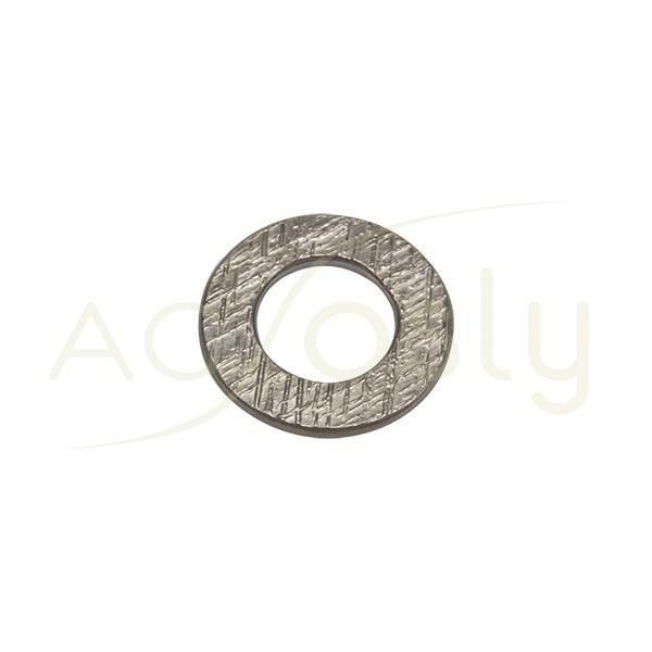 Pieza de montaje en plata con baño de rutenio, modelo disco plano con textura.18,50mm