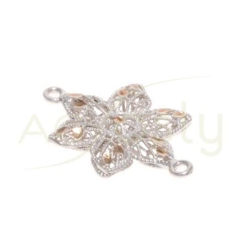 Pieza de montaje rodiada, estrella con motivos chapados rosa, 2 anillas.21mm