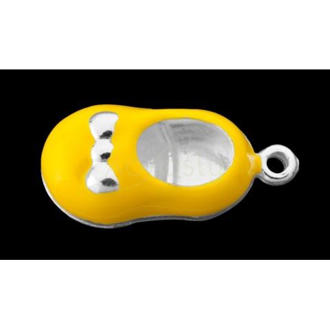 Pieza de montaje esmalte colgante zapato amarillo.17mm