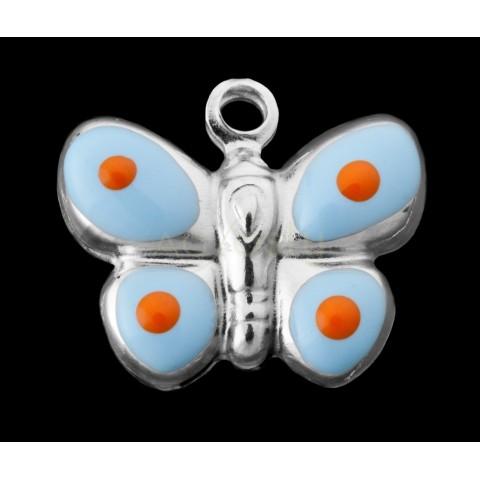 Pieza de montaje esmalte colgante rodiado mariposa azul claro y mostaza.15mm