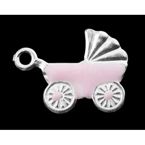 Pieza de montaje esmalte, carrito color rosa.11x10mm