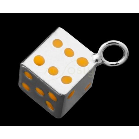 Pieza de montaje esmalte colgante rodiado dado naranja.9mm