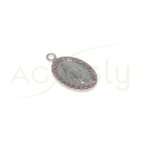 Pieza de montaje modelo medalla oval de la virgen de la Milagrosa con SWA rosas.18x10mm