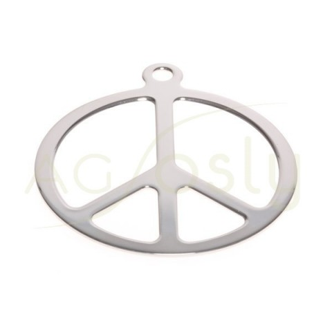 Pieza de montaje en plata rodiada, símbolo de la paz.45mm