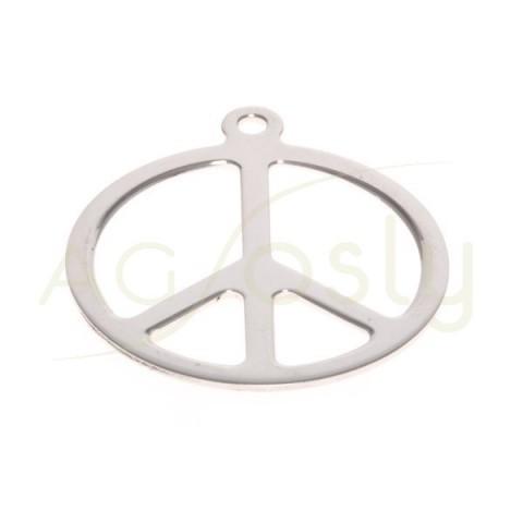 Pieza de montaje en plata rodiada, símbolo de la paz.28mm