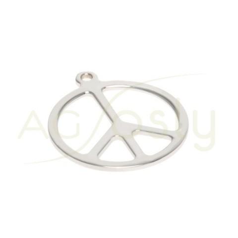 Pieza de montaje en plata rodiada símbolo de la paz.18mm