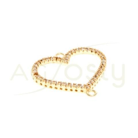 Pieza de montaje en plata chapada, modelo corazón con dos anillas.20mm