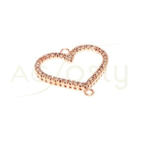 Pieza de montaje en plata chapada en rosa, modelo corazón con dos anillas.20mm