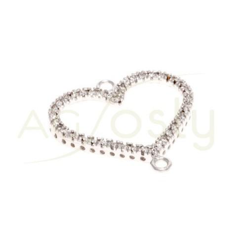 Pieza de montaje en plata rodiada, modelo corazón con dos anillas.20mm
