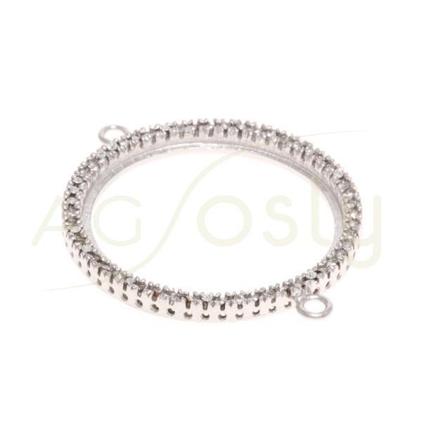 Pieza de montaje en plata rodiada, modelo circular con pav' de circonitas y dos anillas.30mm