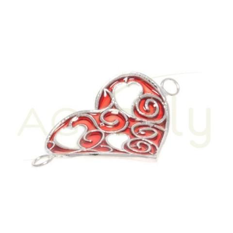 Pieza de montaje esmalte, modelo corazón rojo con dos anillas.25mm