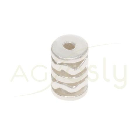 Entrepieza plata, cilindro motivos incas.11mm Int.2mm
