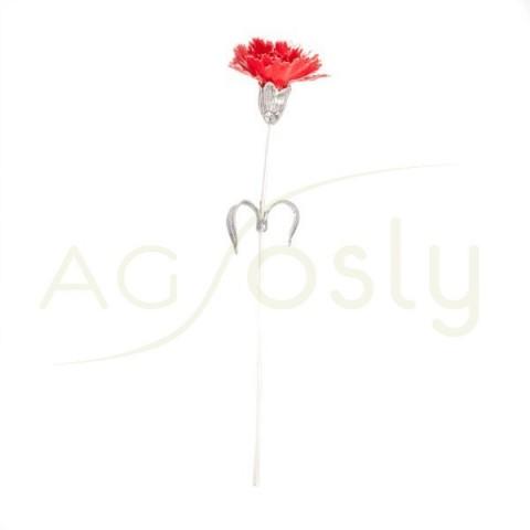 Flor clavel de plata y esmalte en roja.