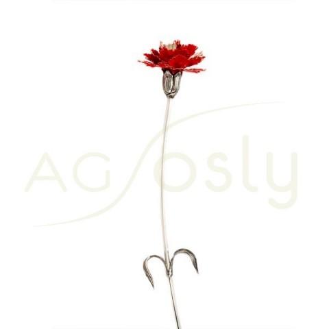 Flor clavel de plata y esmalte en rojo.