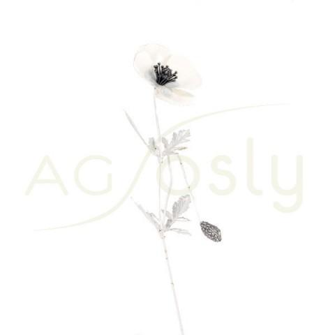 Flor amapola de plata y esmalte en blanco.