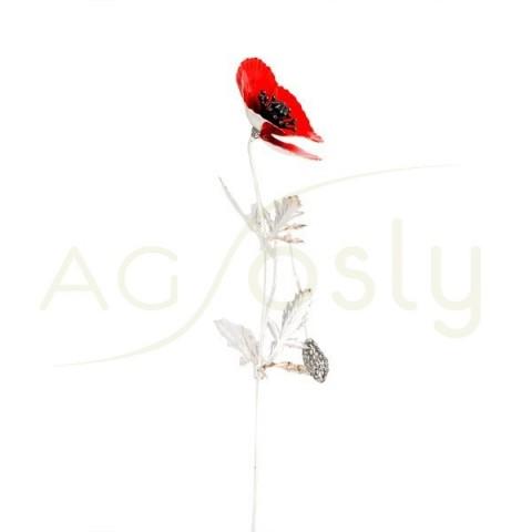 Flor amapola de plata y esmalte en rojo.