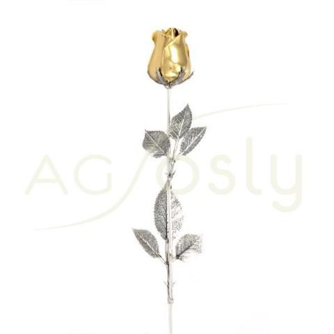 "Rosa de plata chapada en dorado. ""48cm"""