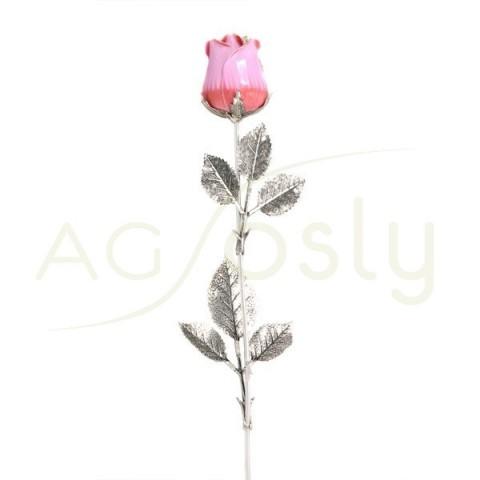"""Flor rosa de plata y esmalte en rosa. """"48cm"""""""
