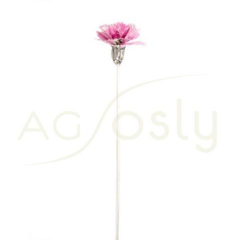 Flor clavel de plata y esmalte en rosa.