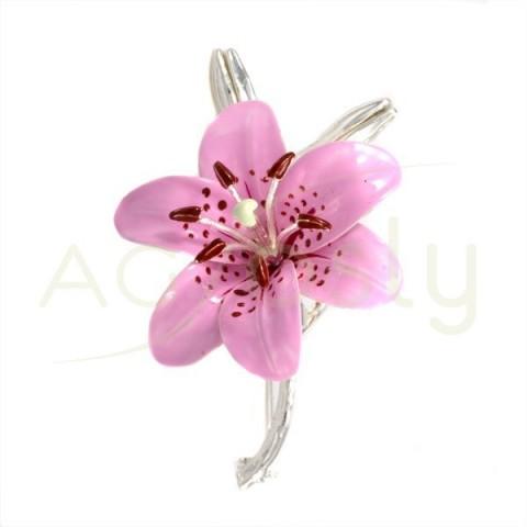 Broche flor corola de plata con esmalte en rosa.