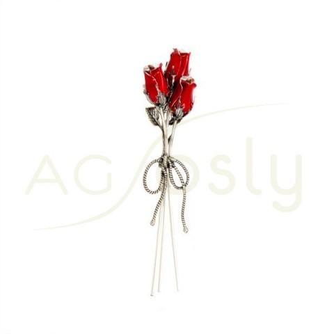 """Flor ramo pequeño de 3 rosas en plata esmaltada en rojo. """"13cm"""""""