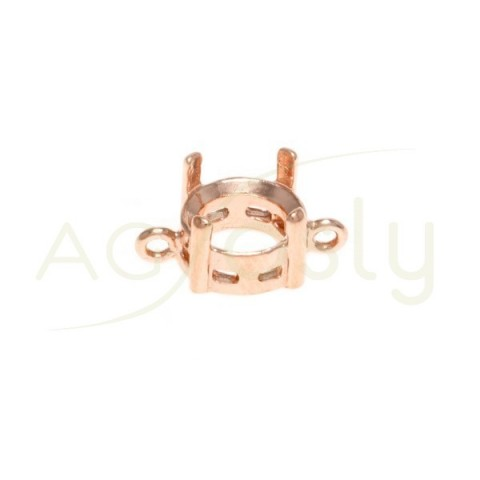Galeria plata chapado rosa de 4 grapas con 2 anillas.11mm
