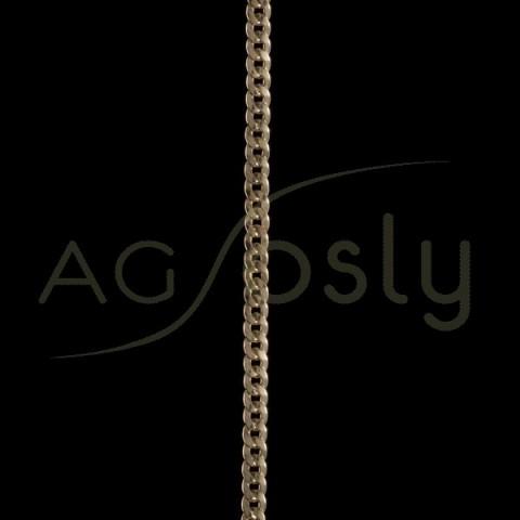Pulsera oro de cadena barbada hueca 120-30 en 21cm.