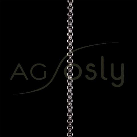 Cadena oro blanco rolo hueca 40 en 45cm.