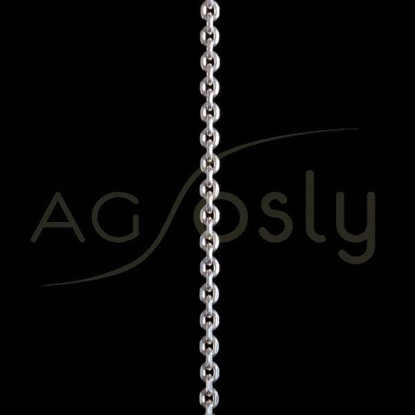 Cadena plata montada, modelo forzada diamantada 100 en 60cm.