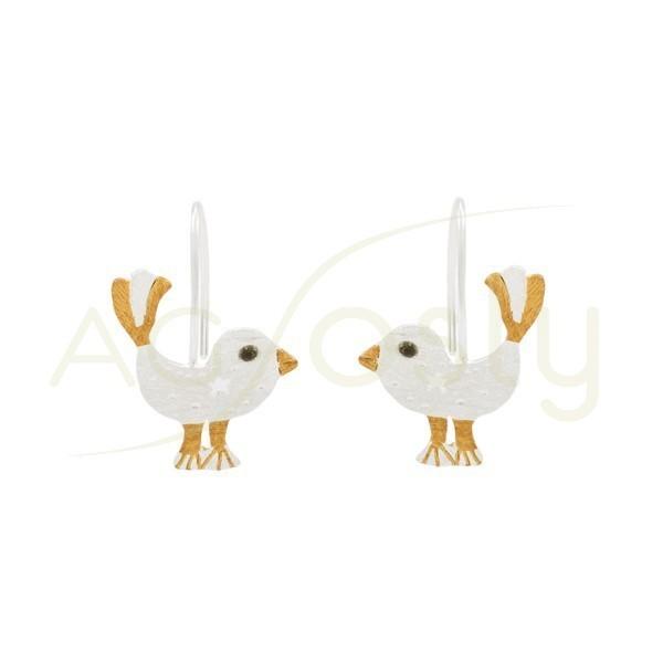 Pendientes plata pollitos, con detalles dorados, y cierre de gancho.