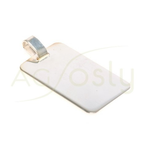 Placa plata lisa.32x20mm