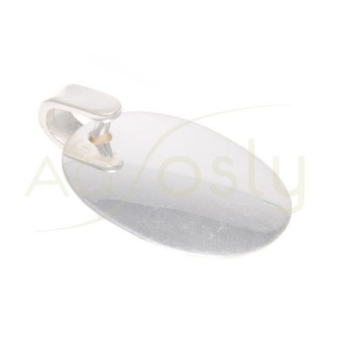 Placa plata lisa oval.35x25mm