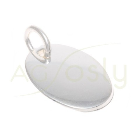 Placa plata lisa oval.30x21,5mm