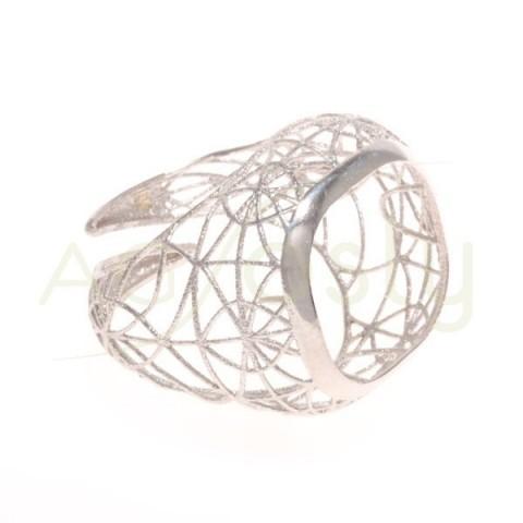 Base anillo rodiada, estructura calada.boca 15mm