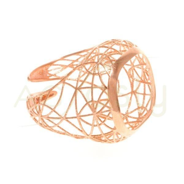 Base anillo chapado rosa, estructura calada.boca 15mm