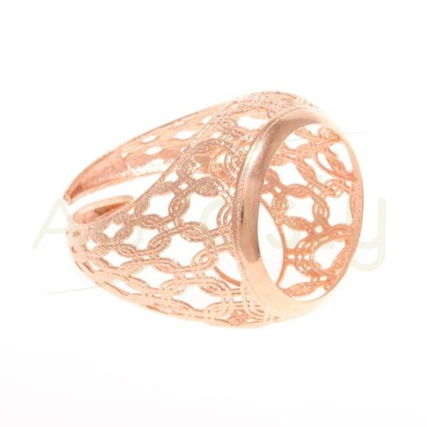 Base anillo chapado rosa, estructura calada.boca 17mm