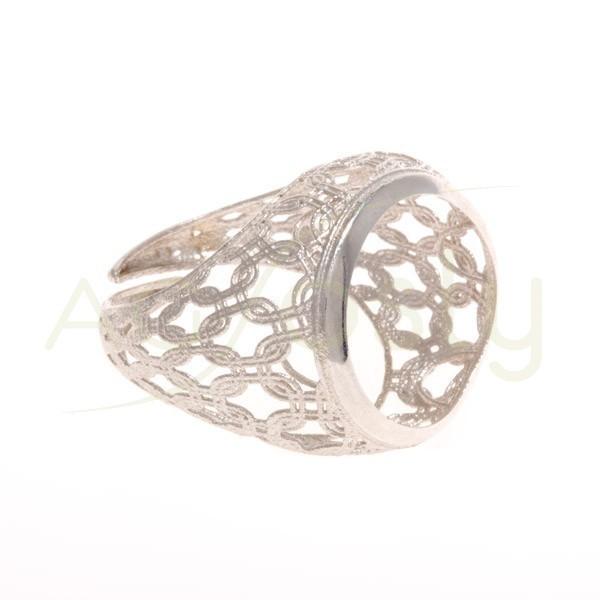 Base anillo rodiada, estructura calada.boca 17mm