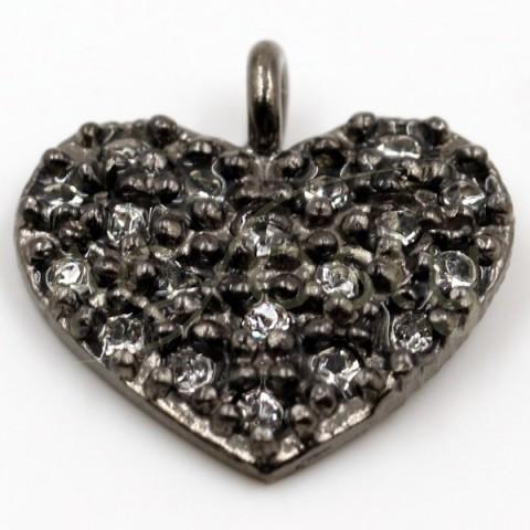 Pieza de montaje en plata con baño de rutenio, modelo corazón con pav' de circonitas.13mm