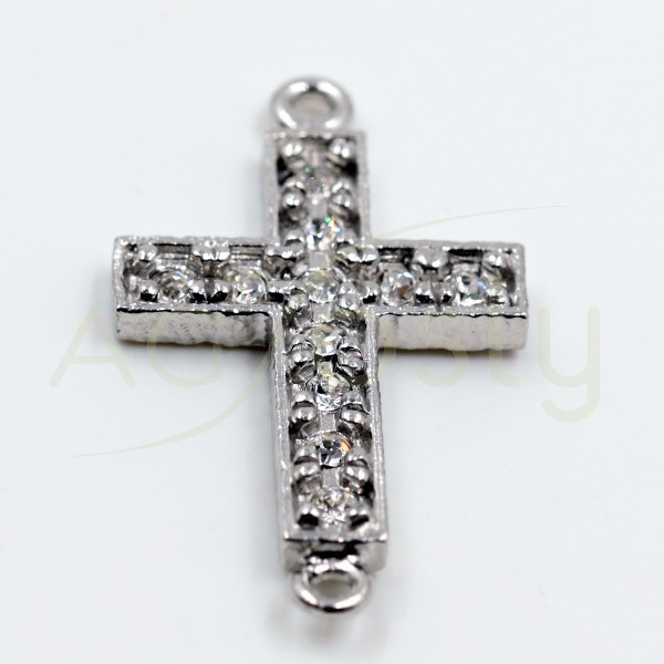 Pieza de montaje en plata, cruz de pav' en circonitas y dos anillas.19mm