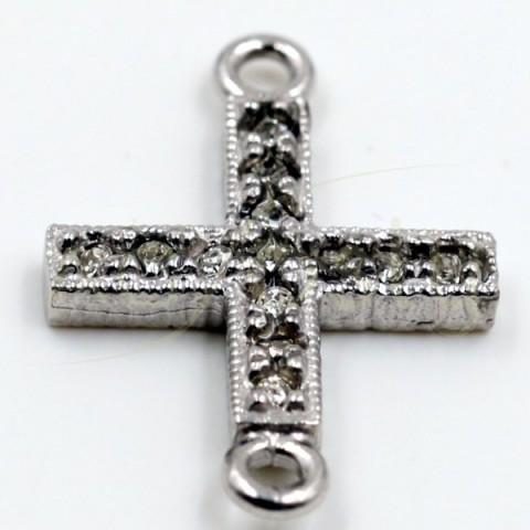 Pieza de montaje en plata, cruz de pav' en circonitas y dos anillas.13mm