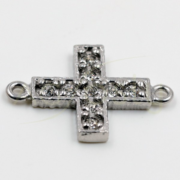 Pieza de montaje en plata rodiada, modelo cruz con pav' de circonitas.13mm