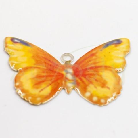 Pieza de montaje esmalte modelo mariposa naranja con dos anillas.28mm