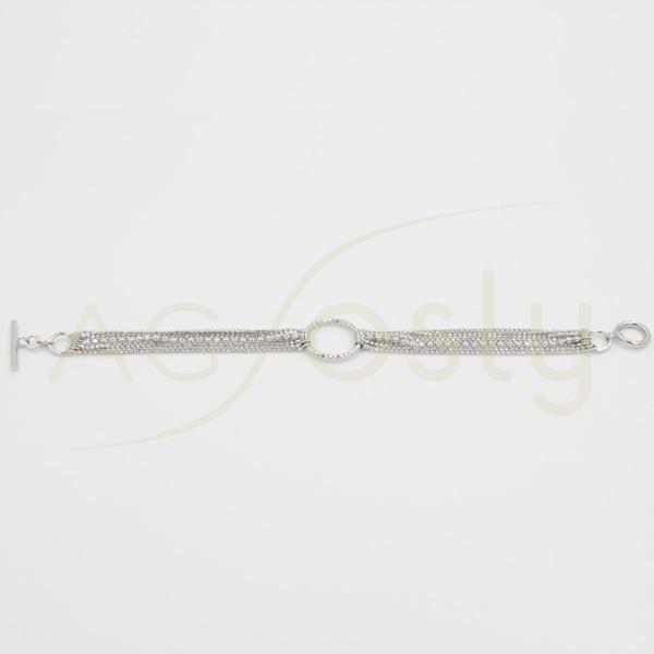 Pulsera con cadenas bolas de plata y círculo central