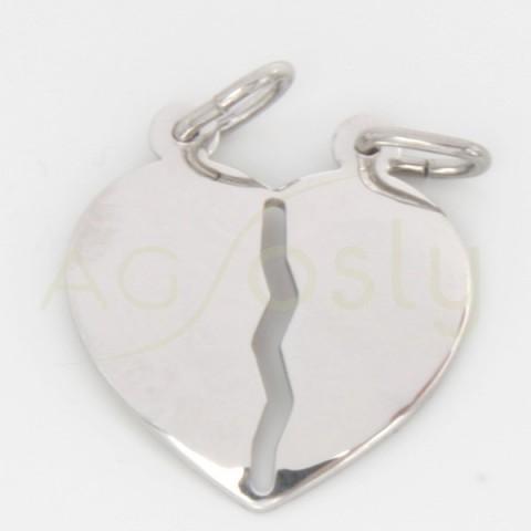 Colgante doble, en plata, con forma de corazón tamaño grande