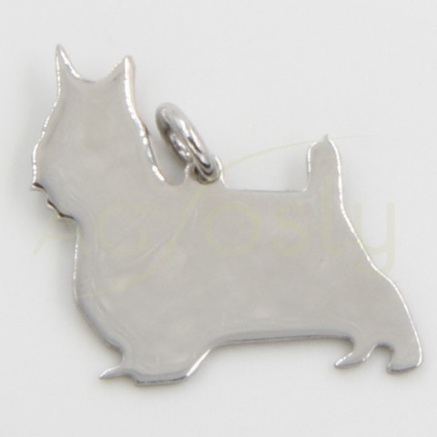 Colgante de plata, perro Schnauzer